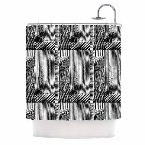 "Laura Nicholson ""Wood Blox"" Black White Illustration Shower Curtain"