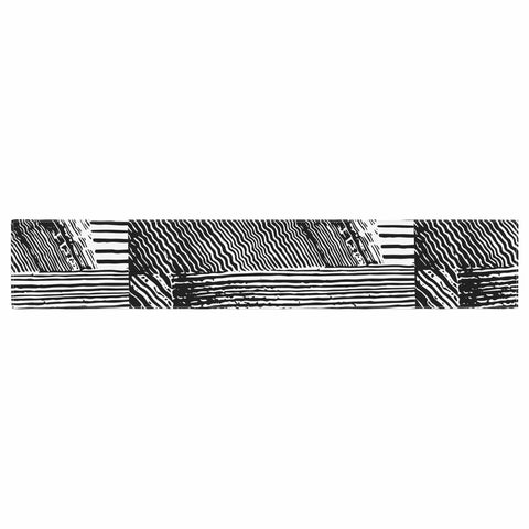 "Laura Nicholson ""Wood Blox"" Black White Illustration Table Runner"