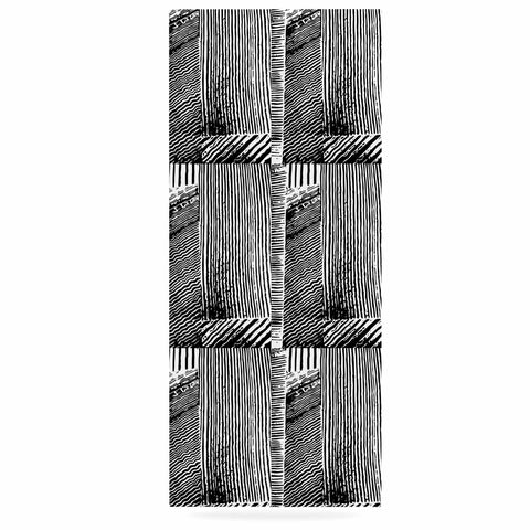 "Laura Nicholson ""Wood Blox"" Black White Illustration Luxe Rectangle Panel"