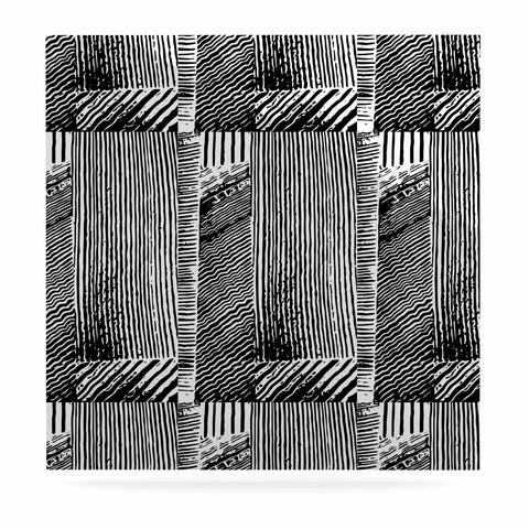 "Laura Nicholson ""Wood Blox"" Black White Illustration Luxe Square Panel"