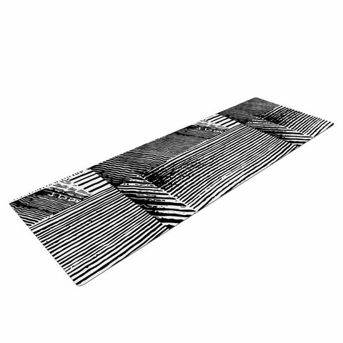 "Laura Nicholson ""Wood Blox"" Black White Illustration Yoga Mat"
