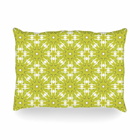 "Laura Nicholson ""Maple Leaves Geometric"" Green Nature Photography Illustration Oblong Pillow"