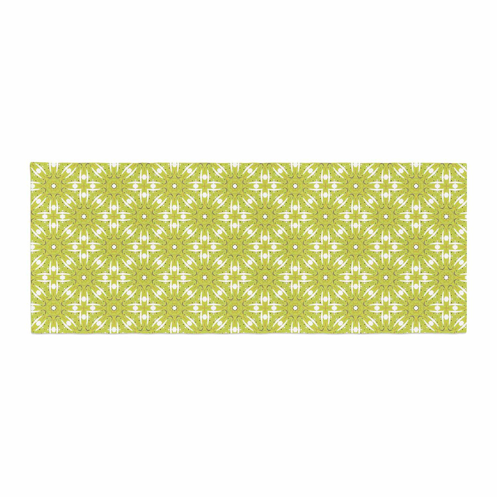 "Laura Nicholson ""Maple Leaves Geometric"" Green Nature Photography Illustration Bed Runner"