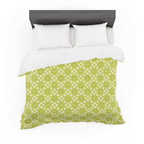 "Laura Nicholson ""Maple Leaves Geometric"" Green Nature Photography Illustration Featherweight Duvet Cover"