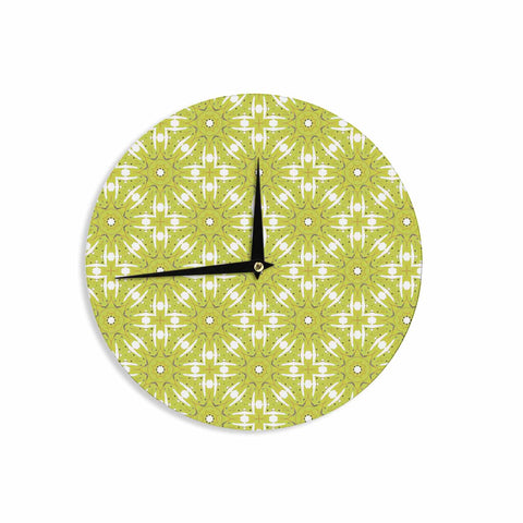 "Laura Nicholson ""Maple Leaves Geometric"" Green Nature Photography Illustration Wall Clock"