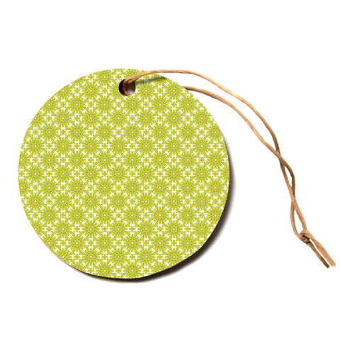 "Laura Nicholson ""Maple Leaves Geometric"" Green Nature Photography Illustration Circle Holiday Ornament"
