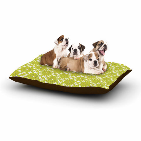 "Laura Nicholson ""Maple Leaves Geometric"" Green Nature Photography Illustration Dog Bed"