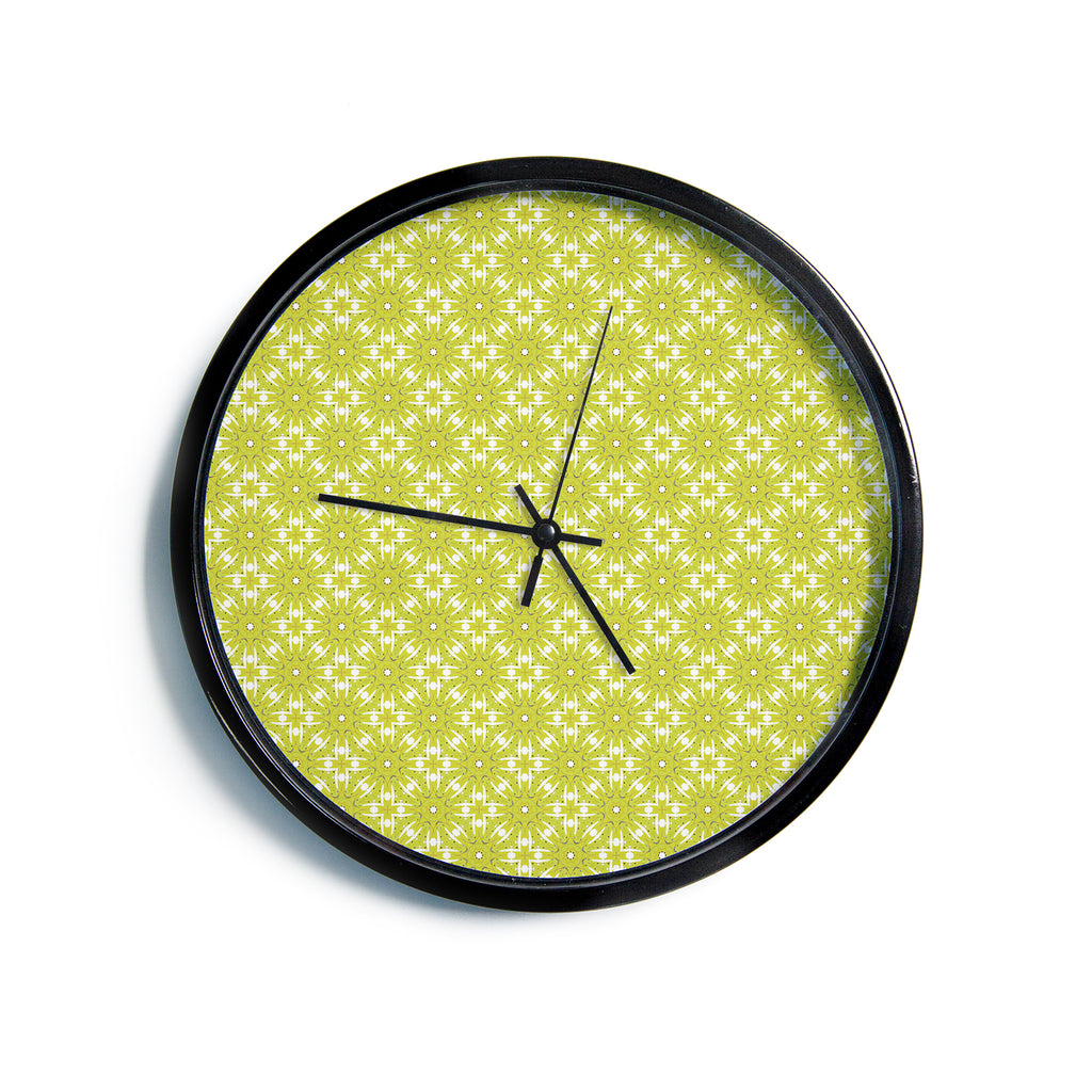 "Laura Nicholson ""Maple Leaves Geometric"" Green Nature Photography Illustration Modern Wall Clock"