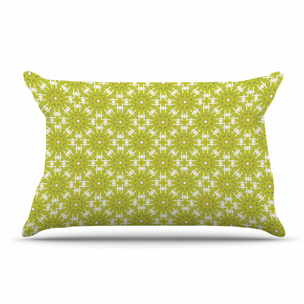 "Laura Nicholson ""Maple Leaves Geometric"" Green Nature Photography Illustration Pillow Sham"