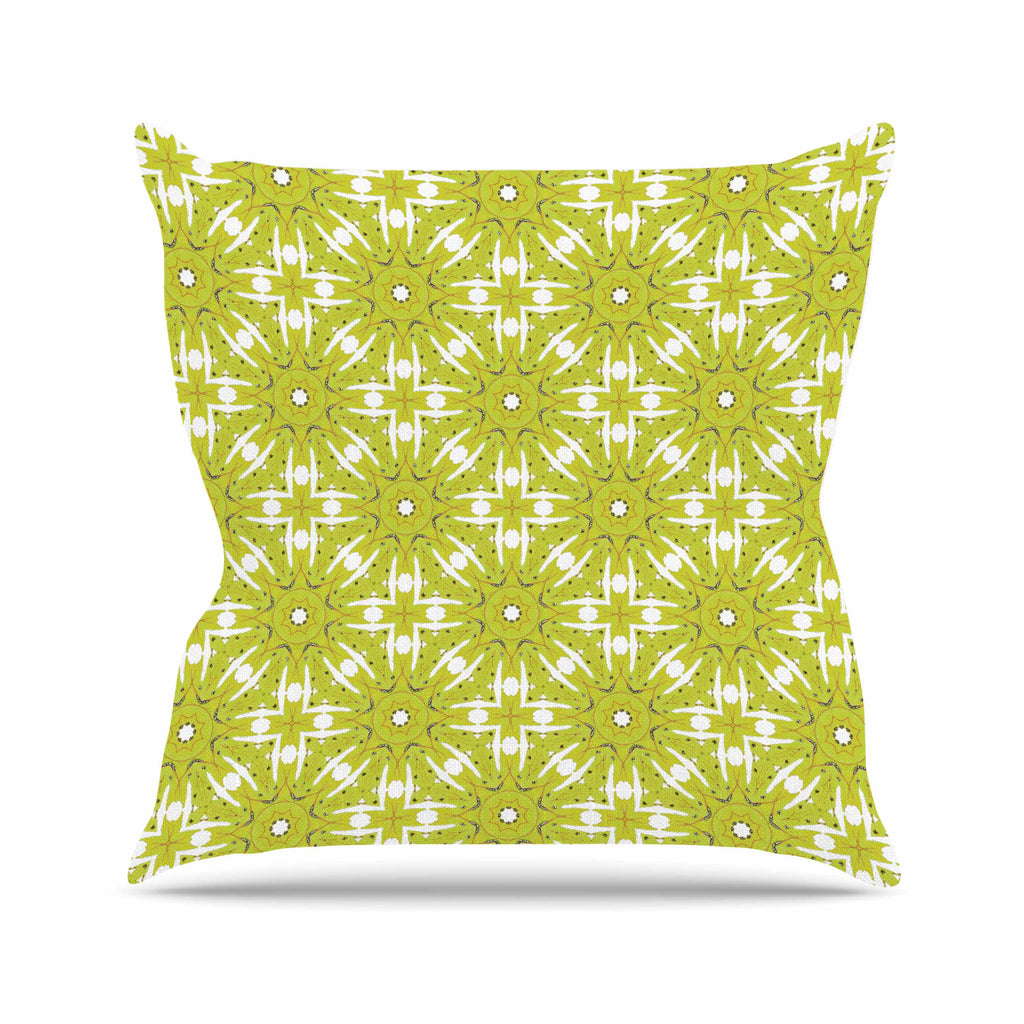 "Laura Nicholson ""Maple Leaves Geometric"" Green Nature Photography Illustration Throw Pillow"