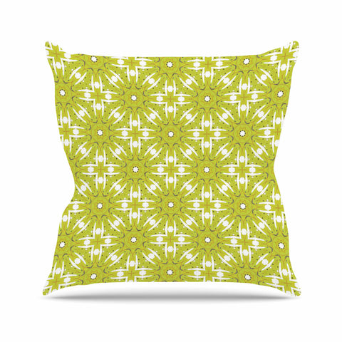 "Laura Nicholson ""Maple Leaves Geometric"" Green Nature Photography Illustration Outdoor Throw Pillow"