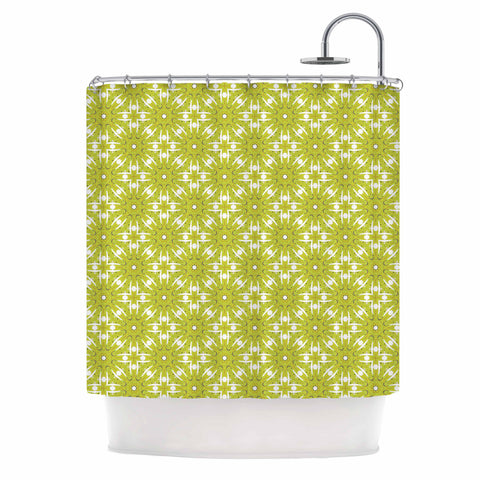 "Laura Nicholson ""Maple Leaves Geometric"" Green Nature Photography Illustration Shower Curtain"