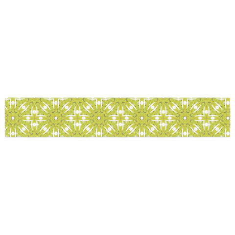 "Laura Nicholson ""Maple Leaves Geometric"" Green Nature Photography Illustration Table Runner"
