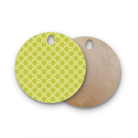 "Laura Nicholson ""Maple Leaves Geometric"" Green Nature Photography Illustration Round Wooden Cutting Board"