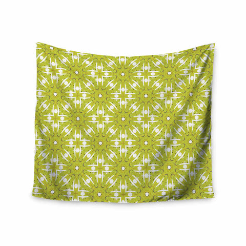 "Laura Nicholson ""Maple Leaves Geometric"" Green Nature Photography Illustration Wall Tapestry"