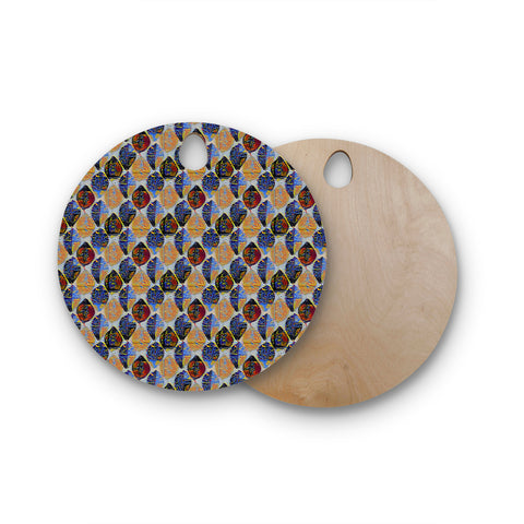 "Laura Nicholson ""Mosaic Leaves"" Gold Blue Diamond Mixed Media Digital Round Wooden Cutting Board"