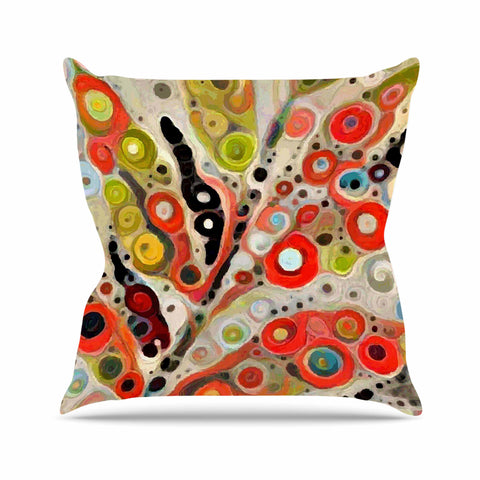 "Laura Nicholson ""Fall Color"" Orange Olive Nature Fantasy Illustration Digital Outdoor Throw Pillow"