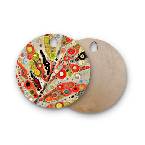 "Laura Nicholson ""Fall Color"" Orange Olive Nature Fantasy Illustration Digital Round Wooden Cutting Board"