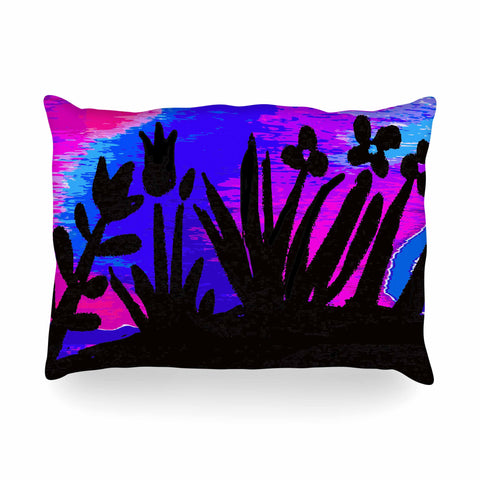 "Laura Nicholson ""Sunset Landscape"" Magenta Black Nature Fantasy Watercolor Illustration Oblong Pillow"