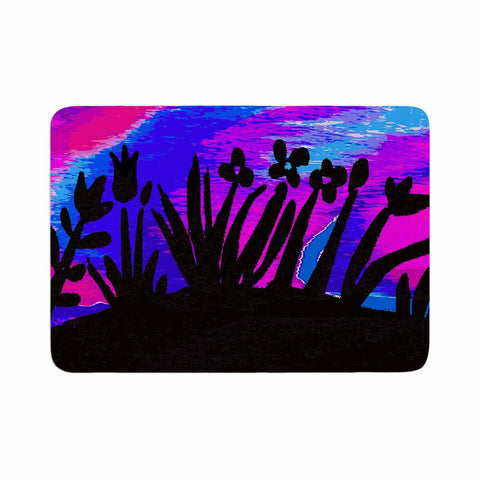 "Laura Nicholson ""Sunset Landscape"" Magenta Black Nature Fantasy Watercolor Illustration Memory Foam Bath Mat"