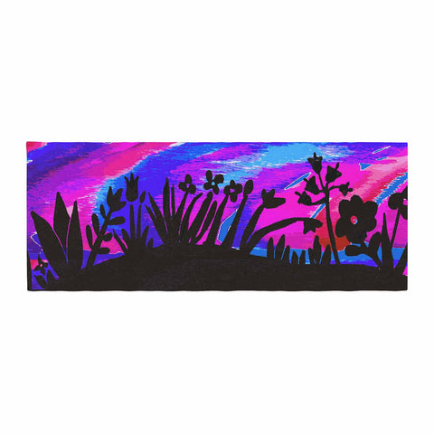 "Laura Nicholson ""Sunset Landscape"" Magenta Black Nature Fantasy Watercolor Illustration Bed Runner"