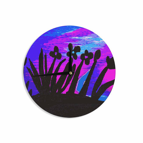 "Laura Nicholson ""Sunset Landscape"" Magenta Black Nature Fantasy Watercolor Illustration Wall Clock"