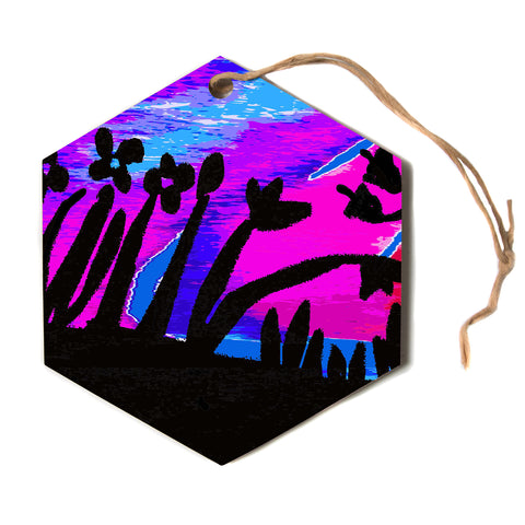 "Laura Nicholson ""Sunset Landscape"" Magenta Black Nature Fantasy Watercolor Illustration Hexagon Holiday Ornament"