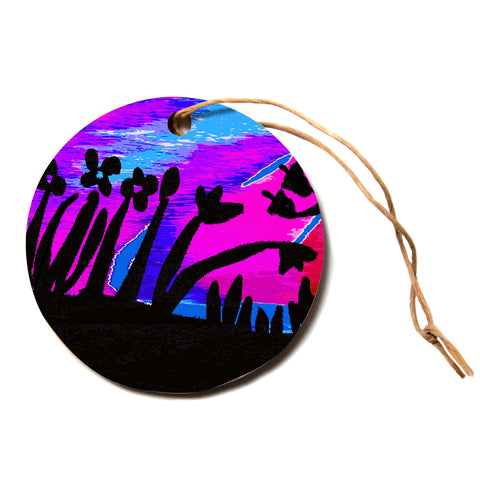 "Laura Nicholson ""Sunset Landscape"" Magenta Black Nature Fantasy Watercolor Illustration Circle Holiday Ornament"