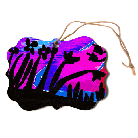 "Laura Nicholson ""Sunset Landscape"" Magenta Black Nature Fantasy Watercolor Illustration Scroll Holiday Ornament"