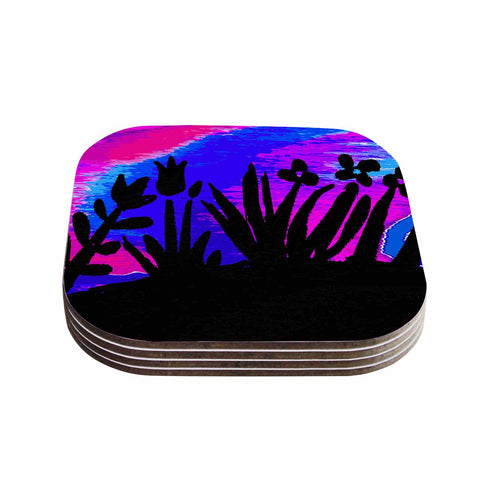 "Laura Nicholson ""Sunset Landscape"" Magenta Black Nature Fantasy Watercolor Illustration Coasters (Set of 4)"