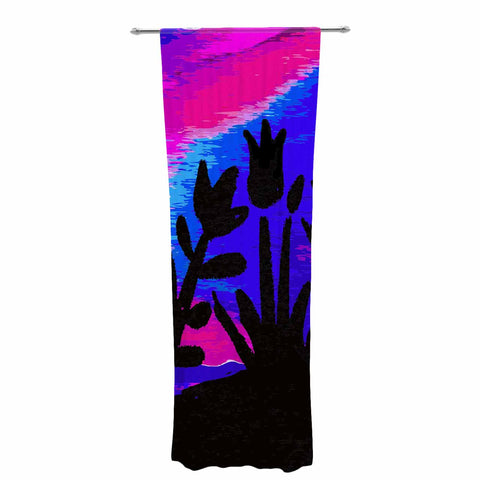 "Laura Nicholson ""Sunset Landscape"" Magenta Black Nature Fantasy Watercolor Illustration Decorative Sheer Curtain"