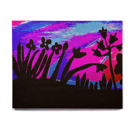 "Laura Nicholson ""Sunset Landscape"" Magenta Black Nature Fantasy Watercolor Illustration Birchwood Wall Art"