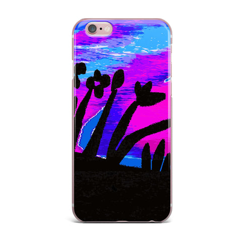 "Laura Nicholson ""Sunset Landscape"" Magenta Black Nature Fantasy Watercolor Illustration iPhone Case"