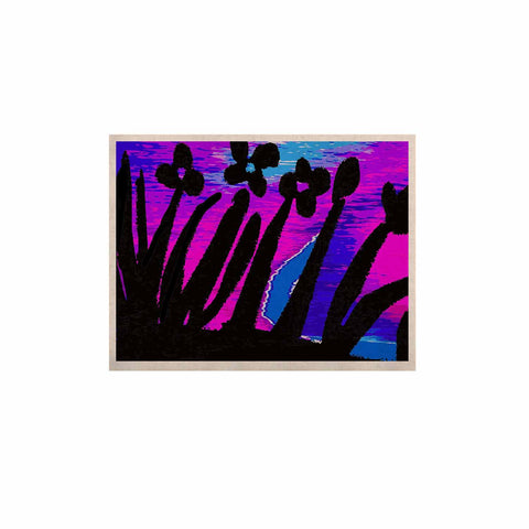 "Laura Nicholson ""Sunset Landscape"" Magenta Black Nature Fantasy Watercolor Illustration KESS Naturals Canvas (Frame not Included)"