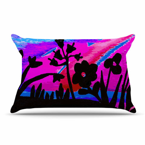 "Laura Nicholson ""Sunset Landscape"" Magenta Black Nature Fantasy Watercolor Illustration Pillow Sham"