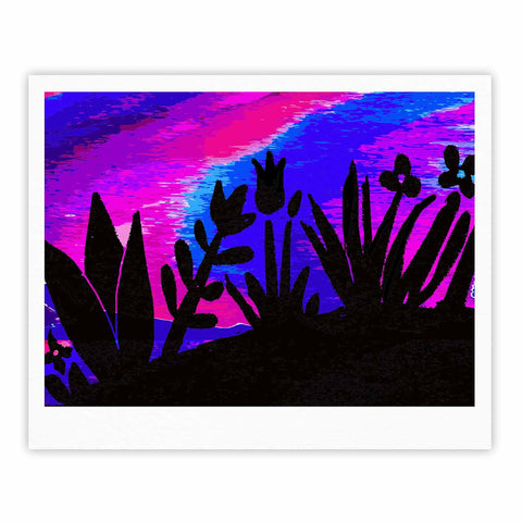 "Laura Nicholson ""Sunset Landscape"" Magenta Black Nature Fantasy Watercolor Illustration Fine Art Gallery Print"
