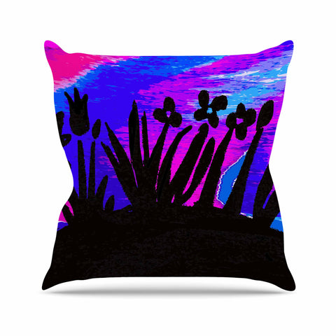 "Laura Nicholson ""Sunset Landscape"" Magenta Black Nature Fantasy Watercolor Illustration Outdoor Throw Pillow"