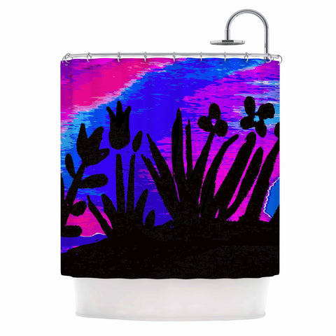 "Laura Nicholson ""Sunset Landscape"" Magenta Black Nature Fantasy Watercolor Illustration Shower Curtain"