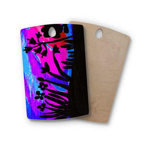 "Laura Nicholson ""Sunset Landscape"" Magenta Black Nature Fantasy Watercolor Illustration Rectangle Wooden Cutting Board"