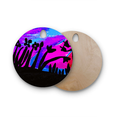 "Laura Nicholson ""Sunset Landscape"" Magenta Black Nature Fantasy Watercolor Illustration Round Wooden Cutting Board"