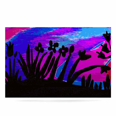 "Laura Nicholson ""Sunset Landscape"" Magenta Black Nature Fantasy Watercolor Illustration Luxe Rectangle Panel"