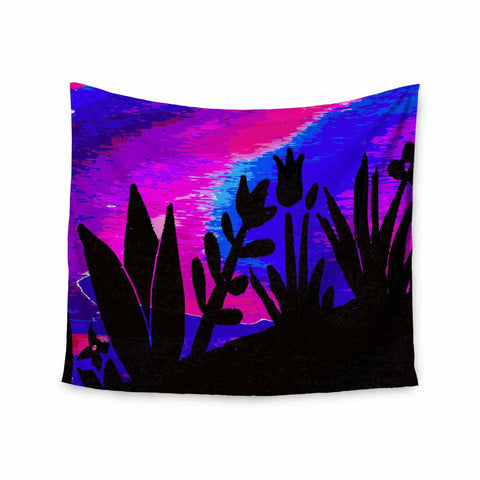 "Laura Nicholson ""Sunset Landscape"" Magenta Black Nature Fantasy Watercolor Illustration Wall Tapestry"