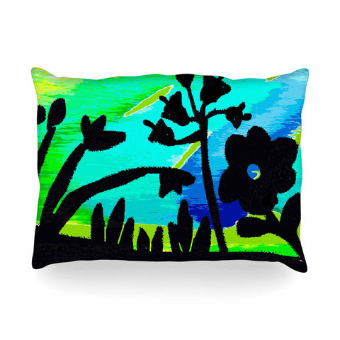 "Laura Nicholson ""Wild Landscape"" Blue Green Nature Fantasy Watercolor Illustration Oblong Pillow"