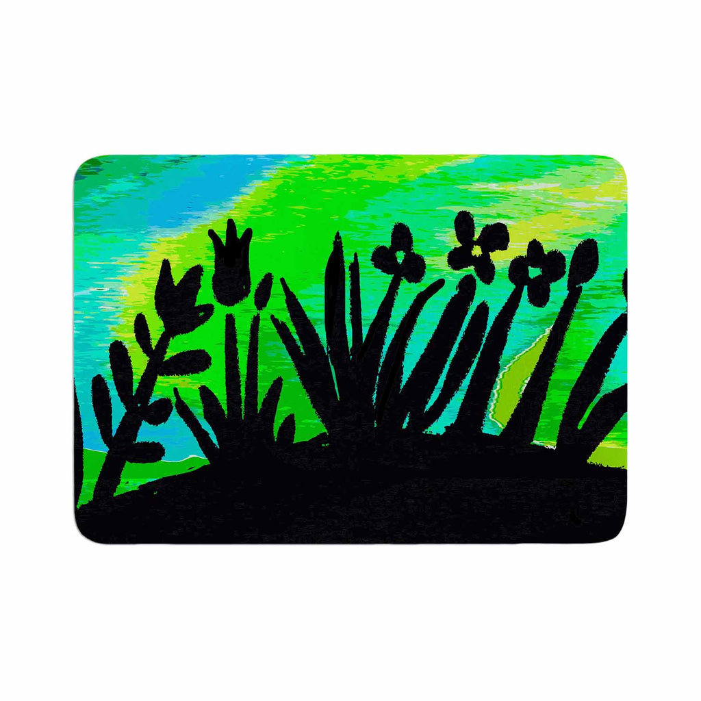 "Laura Nicholson ""Wild Landscape"" Blue Green Nature Fantasy Watercolor Illustration Memory Foam Bath Mat"