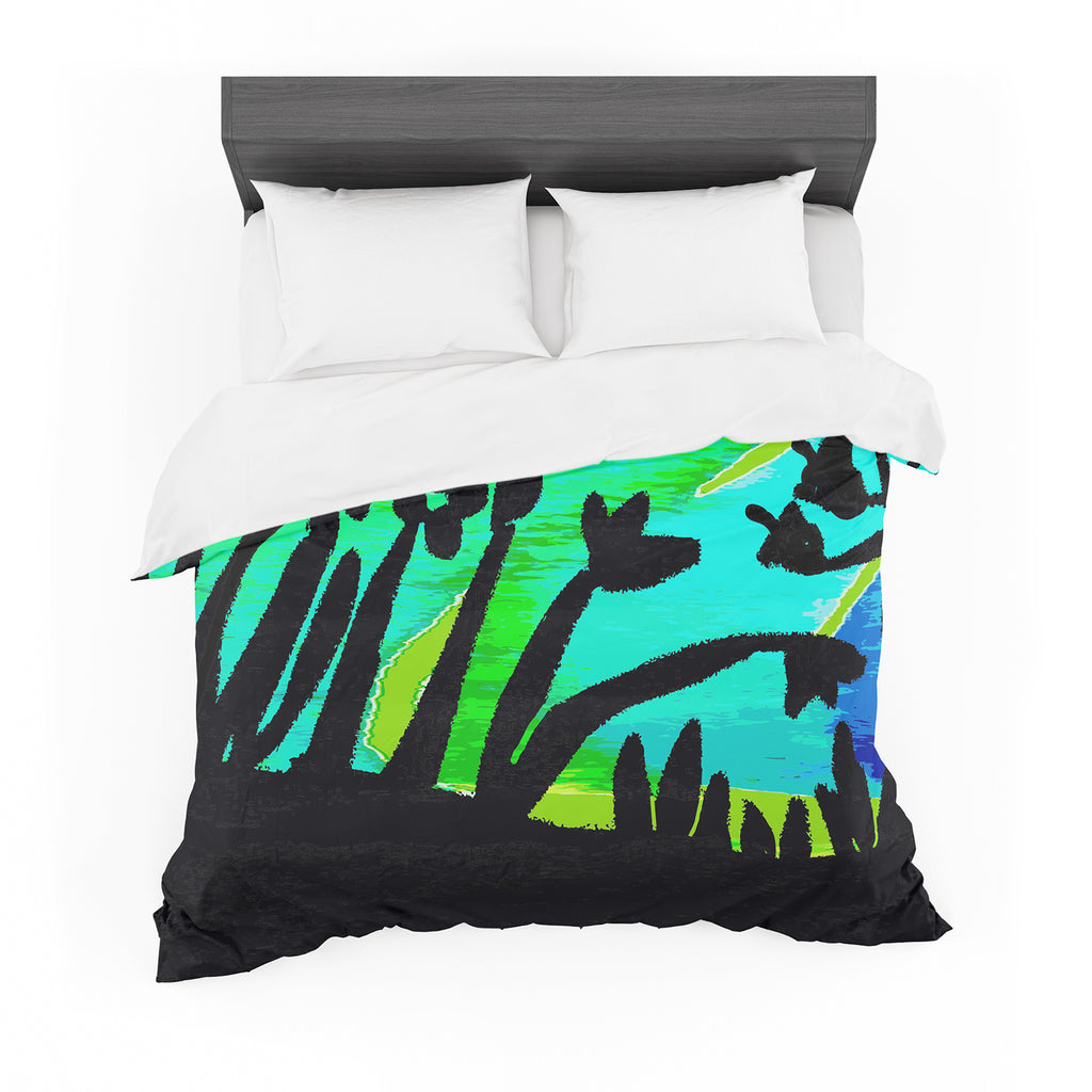 "Laura Nicholson ""Wild Landscape"" Blue Green Nature Fantasy Watercolor Illustration Featherweight Duvet Cover"