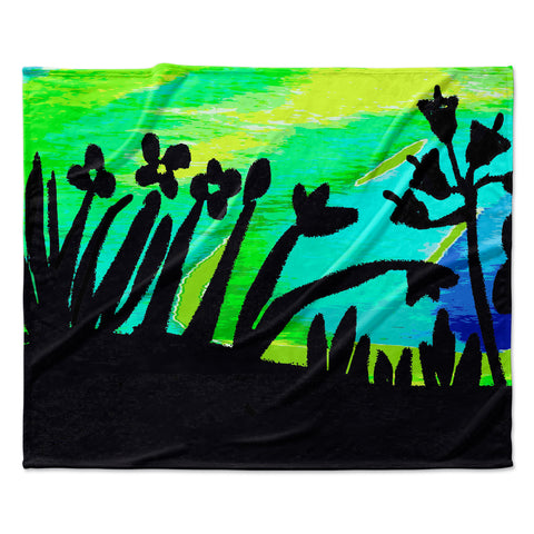 "Laura Nicholson ""Wild Landscape"" Blue Green Nature Fantasy Watercolor Illustration Fleece Throw Blanket"