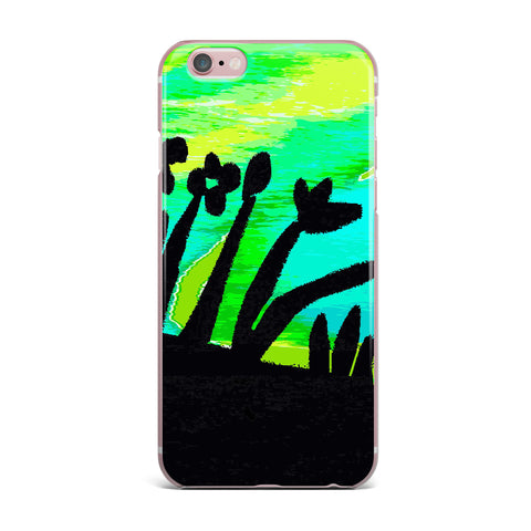 "Laura Nicholson ""Wild Landscape"" Blue Green Nature Fantasy Watercolor Illustration iPhone Case"