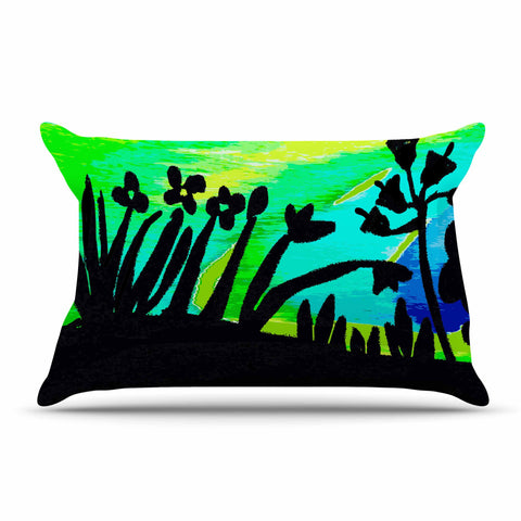 "Laura Nicholson ""Wild Landscape"" Blue Green Nature Fantasy Watercolor Illustration Pillow Sham"
