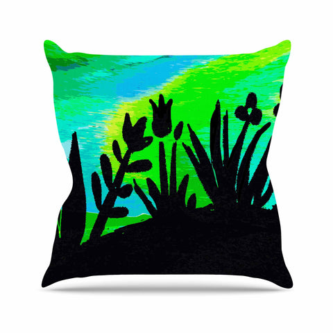 "Laura Nicholson ""Wild Landscape"" Blue Green Nature Fantasy Watercolor Illustration Outdoor Throw Pillow"