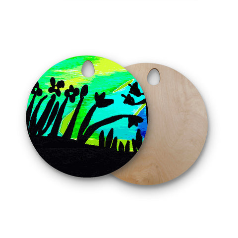 "Laura Nicholson ""Wild Landscape"" Blue Green Nature Fantasy Watercolor Illustration Round Wooden Cutting Board"